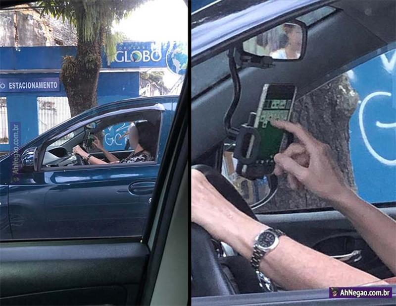 Jogando paciência dentro do carro