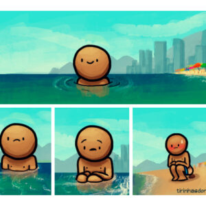 Cagando na praia