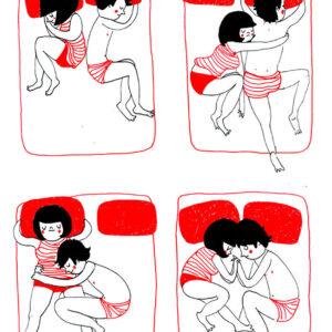 O carinho espontâneo quando um casal está dormindo
