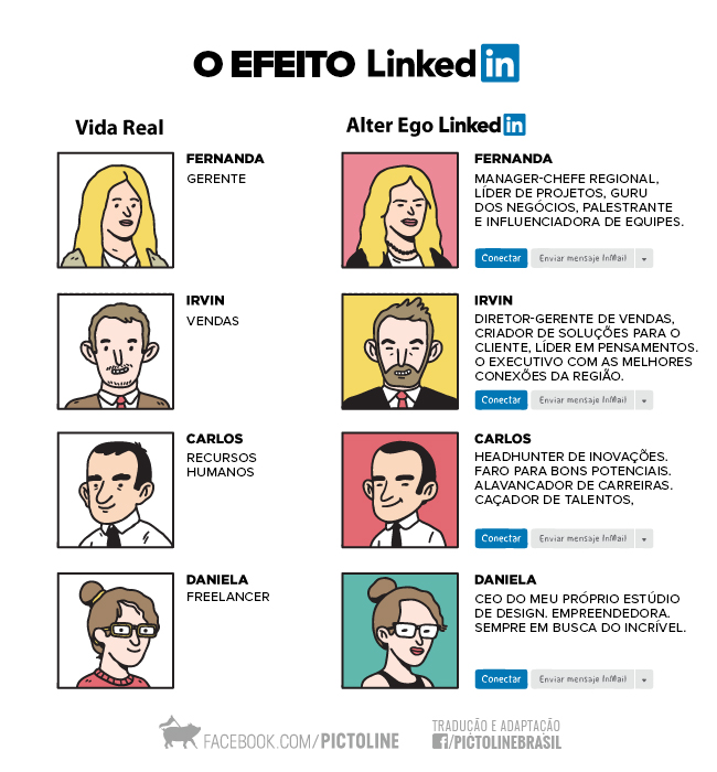 Na vida real x no Linkedin