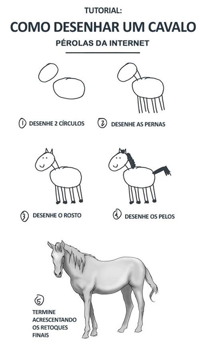 Desenhar um cavalo é muito fácil. Aprenda agora
