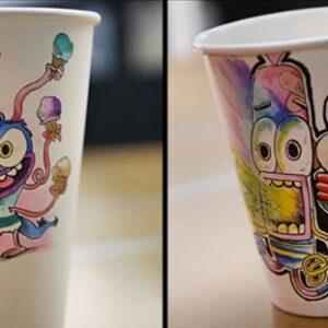 Arte em copinhos de café