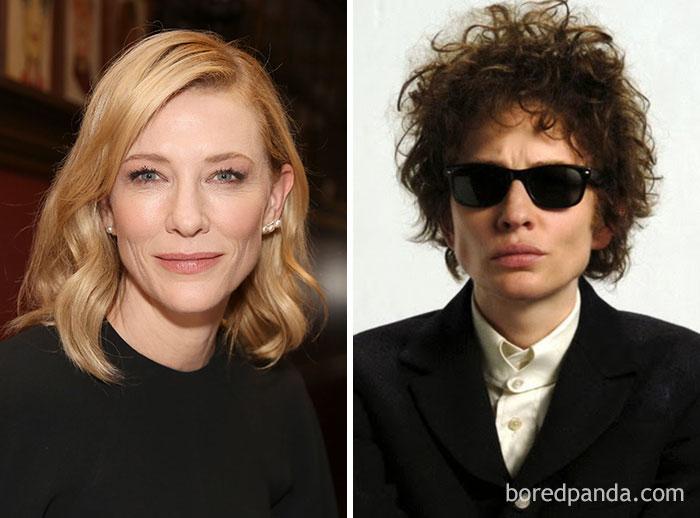 Cate Blanchett, como Bob Dylan, em Não estou lá