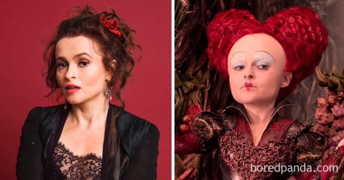 Helena Bonham Carter, como Rainha de Copas, em Alice no País das Maravilhas
