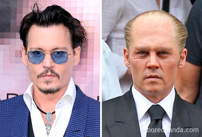 Johnny Depp, como o gangster Whitey Bulger, em Missa Negra