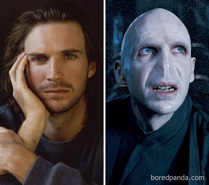 Ralph Fiennes, como Lord Voldemort, em Harry Potter