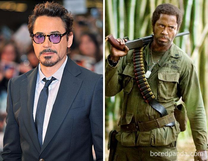 Robert Downey Jr, como Kirk Lazarus em Trovão Tropical