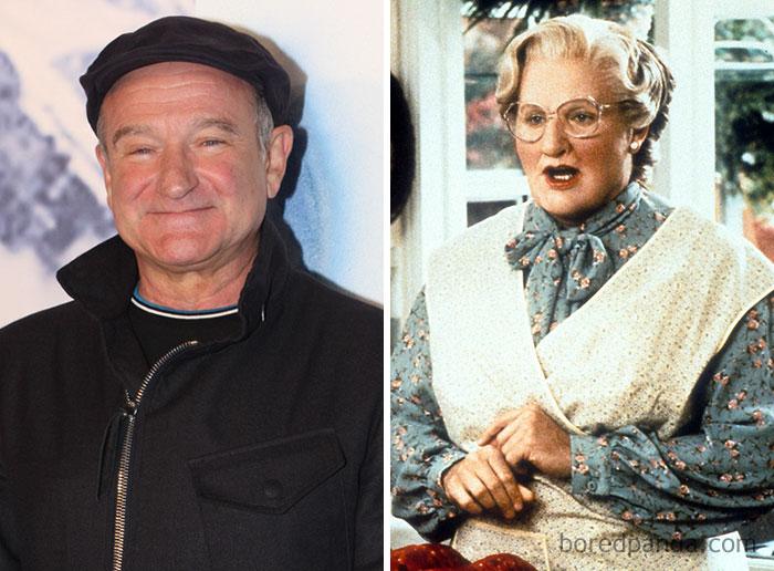 Robin Williams, como Senhora Doutfire, em Uma Babá Quase Perfeita