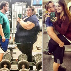 Mulher perde 136 quilos em 18 meses e refaz fotos antigas para mostrar a incrível diferença