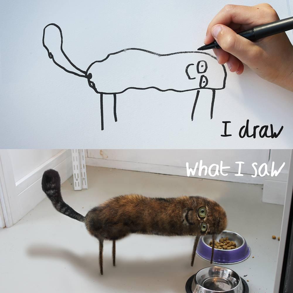 gato desenhado por criança