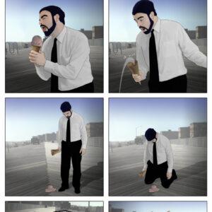 Uma tragédia com as bolas do sorvete