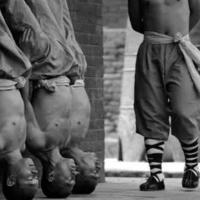Monges shaolins em treinamento.