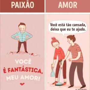 Diferenças entre amor e paixão em lindas ilustrações