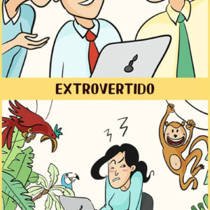 A diferença entre introvertidos e extrovertidos em ilustrações