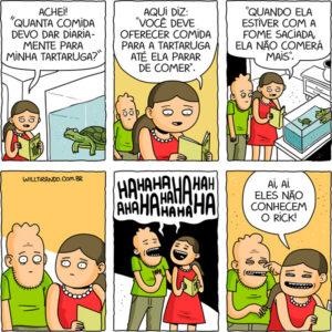 Um casal engraçado e sua tartaruga nos quadrinhos