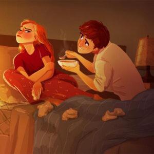 Ilustrações mostram como é a vida ao lado da pessoa amada