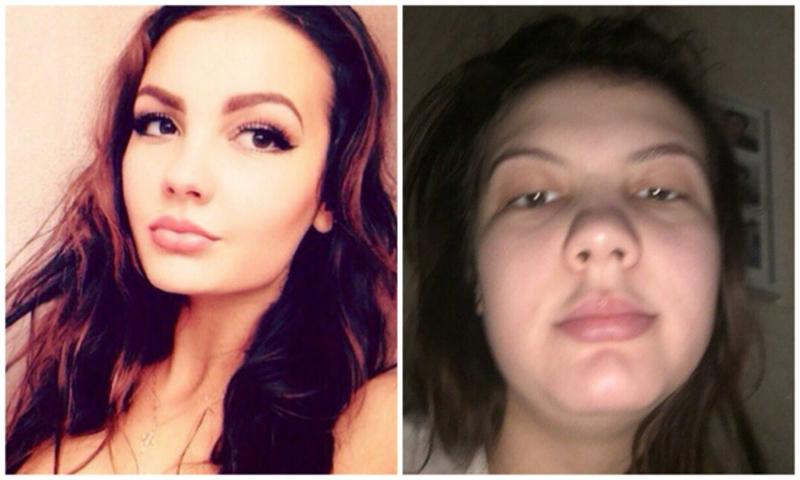 Com e sem maquiagem