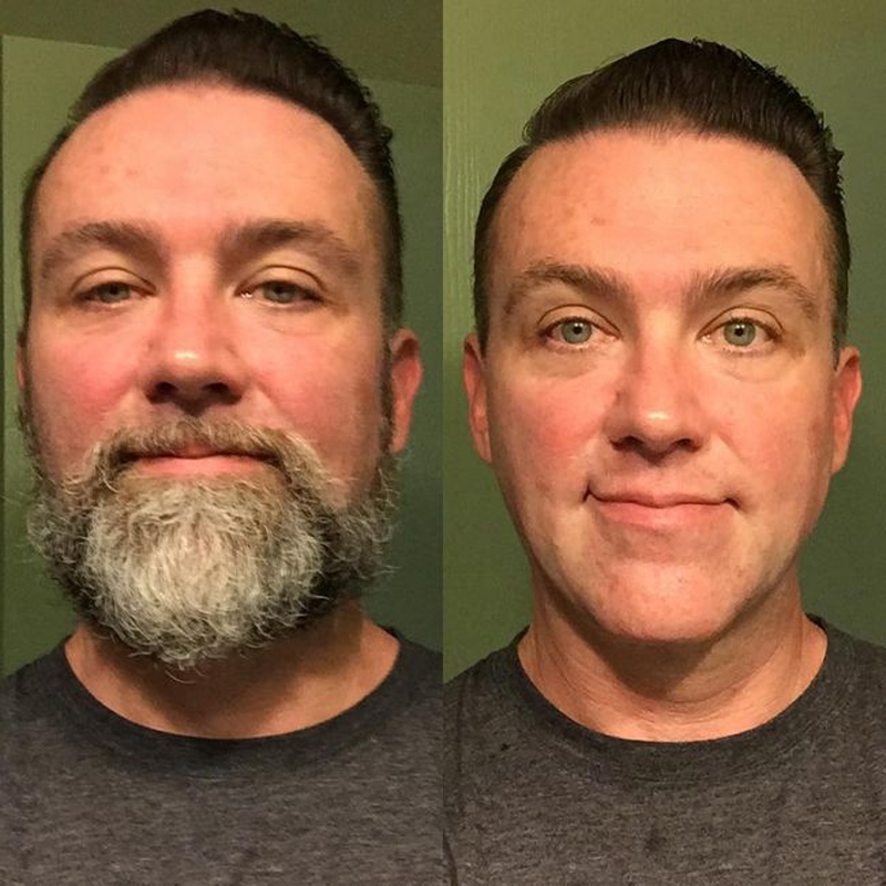 A barba muda o visual de um homem