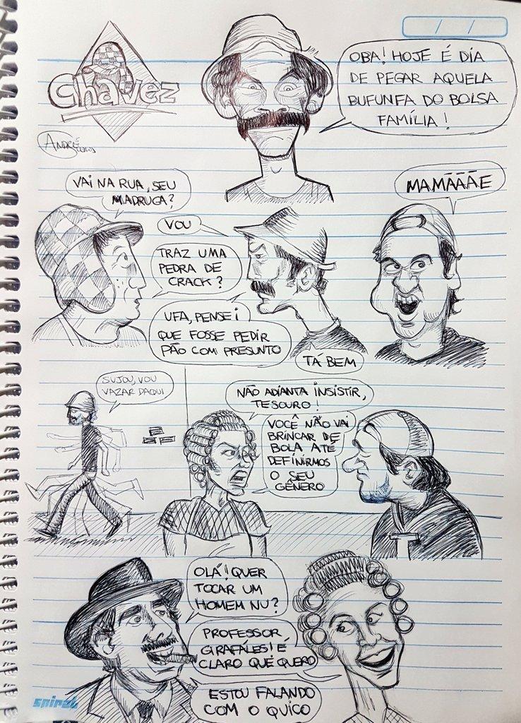 Chaves era de esquerda? Veja os quadrinhos polêmicos de André Guedes