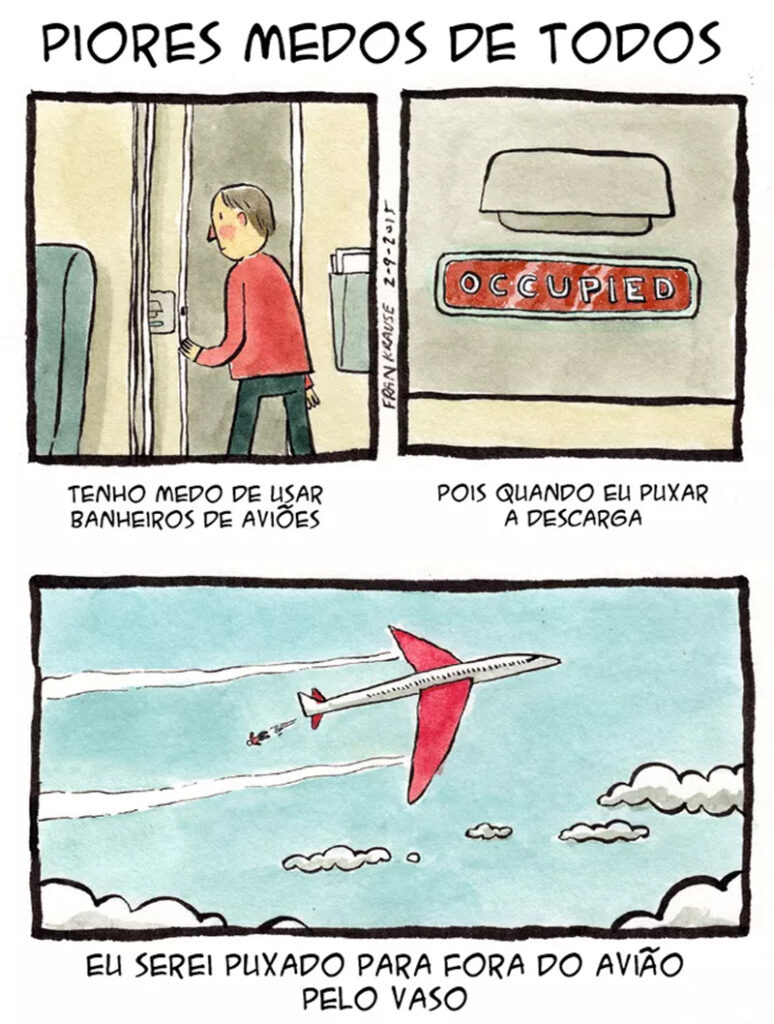 Medo de usar o banheiro do avião