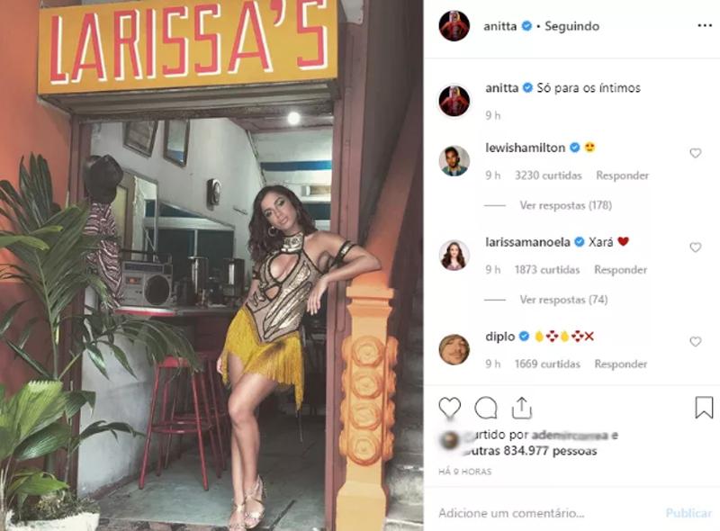 """Lewis Hamilton comenta emoji """"apaixonado"""" em foto de Anitta (Foto: Reprodução Instagram)"""