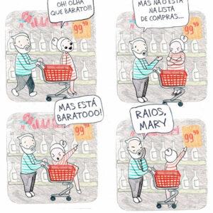 Quadrinhos mostram que viver com uma mulher consumista não é fácil