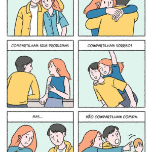 Casais que compartilham tudo em quadrinhos românticos