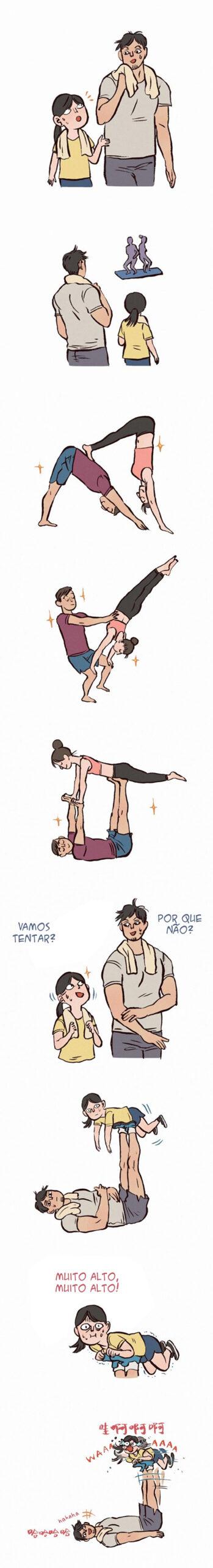 Um casal divertido se exercitando junto