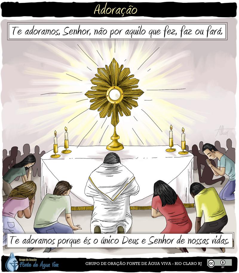 A Adoração ao Santíssimo Sacramento pode ser feita diante da Eucaristia exposta no altar, por exemplo, em um ostensório, ou em igrejas, tabernáculos e capelas.