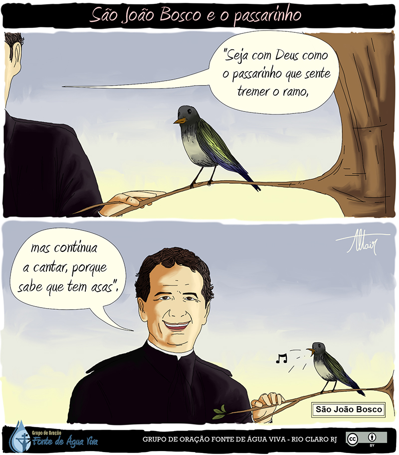A delicadeza de São João Bosco em uma frase transformada em quadrinho