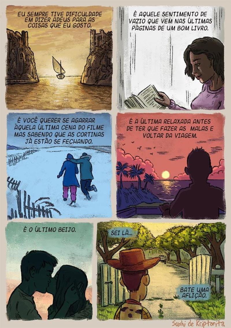 Às vezes é difícil dizer adeus, e alguns quadrinhos tocam o coração