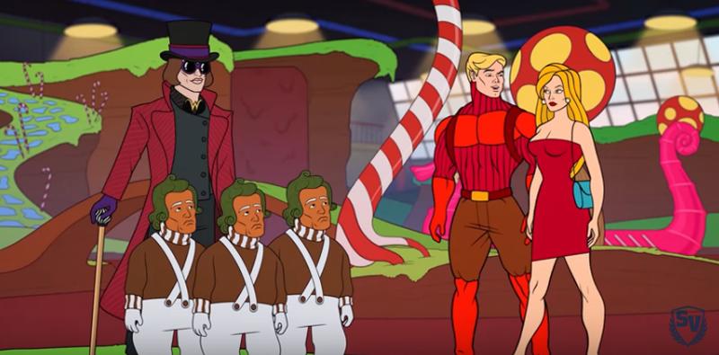 Heróis destemidos na Fantástica Fábrica de Chocolates em uma história assustadora