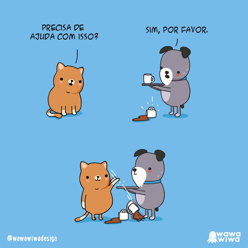 Quando um gatinho quer ajudar.