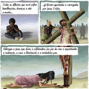 Entregue seus sofrimentos a Jesus aos pés da Cruz